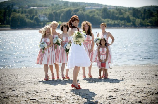 WeatherKim Wedding Bridesmaids Dresses Candy Stripes